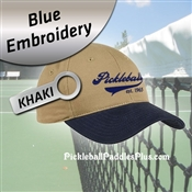 Pickleball Hat Navy Blue Pickleball Logo Khaki Hat