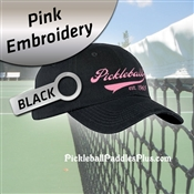Pickleball Hat Pink Pickleball Logo Black Hat
