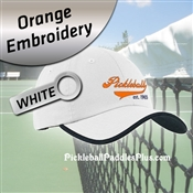 Pickleball Hat Orange Pickleball Logo White Hat