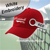 Pickleball Hat White Pickleball Logo Red Hat