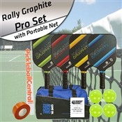 Rally Graphite Pro Pickleball Paddle Set of 4 with Net