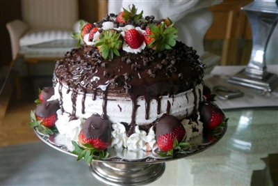 Laura's Chocolate Cake with Strawberries