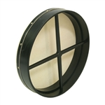"Bodhran, 18""x3.5"", Fixed, Black, Cross"