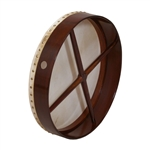 "Bodhran, 18""x3.5"", Fixed, Rosewd, Cross"