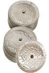 White copper jingles used in tambourines. Diameter of jingles approximately 2 inches.