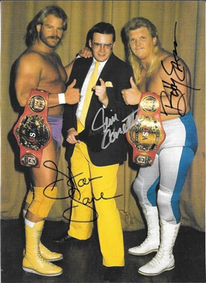 THE MIDNIGHT EXPRESS signed photo - STAN LANE, BOBBY EATON, JIM CORNETTE