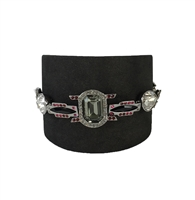 Swarovski Pony Bracelet Leather & Crystal Cuff,