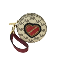 Michael Kors Heart Patch Signature Print Coin Purse FOB