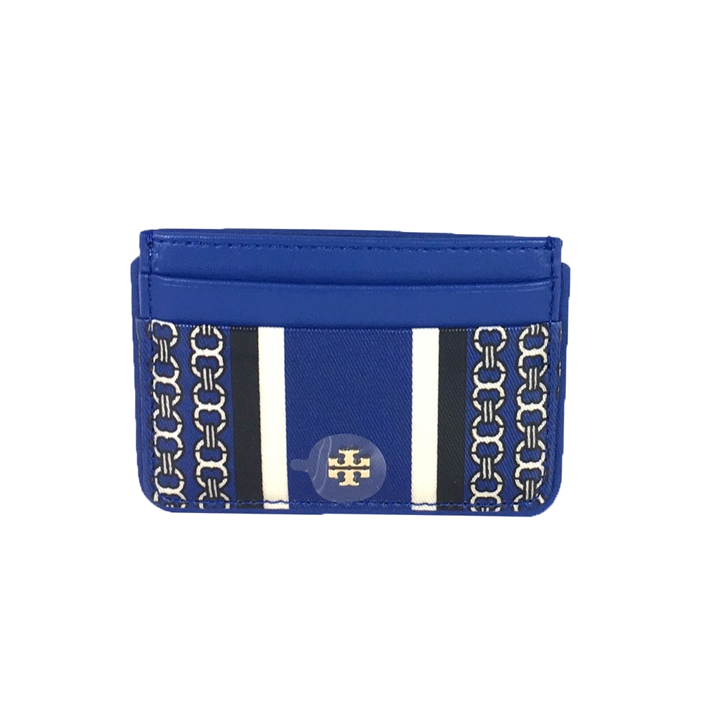 Tory Burch Gemini Link Stripe Card Case, Jewel Blue