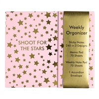 Shoot For The Stars Weekly Planner Organizer Desk Set, Pink