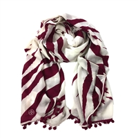 Tory Burch Animal Stripe Oblong Scarf