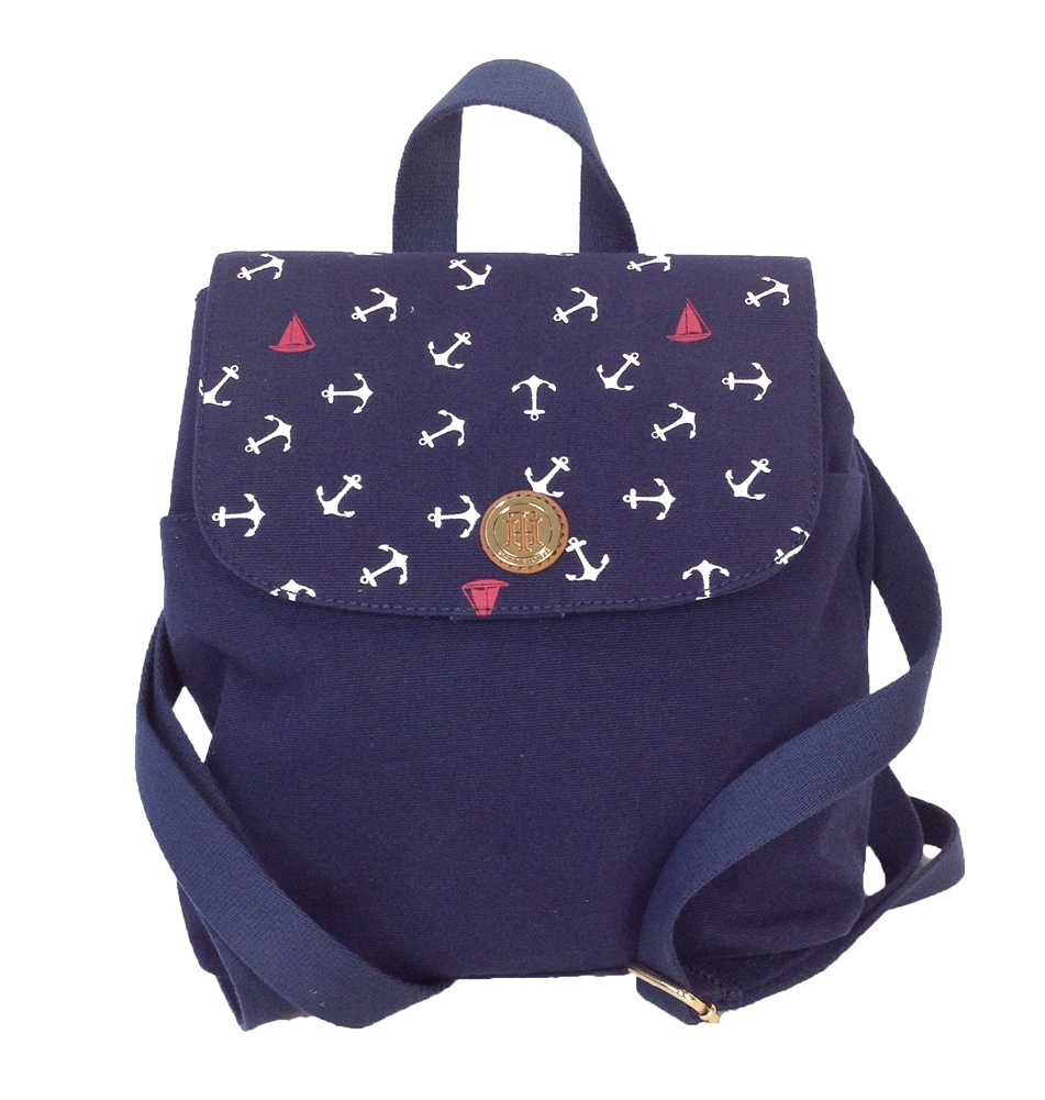 tommy hilfiger anchor print canvas small backpack navy. Black Bedroom Furniture Sets. Home Design Ideas