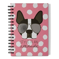 Style Is An Attitude Boston Frenchie Dog Hardcover Spiral Notebook