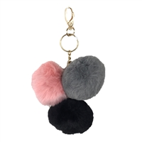 Triple Faux Fur Pom Pom Key Chain Purse Charm
