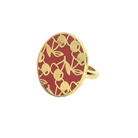 Covet Cherry Enamel Disc Statement Ring