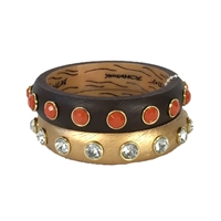 Betsey Johnson Throw Back Wood Bangle Bracelet Set