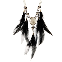Betsey Johnson Skeletons After Dark Feather Cameo Statement Necklace