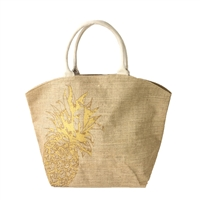 Golden Pineapple Burlap Oversized Tote Beach Bag