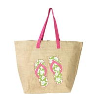 Flip Flops Burlap Oversized Tote Beach Bag