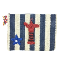 Blue Island Lil Lobster Striped Straw Clutch