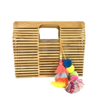 Blue Island Block Bamboo Clutch