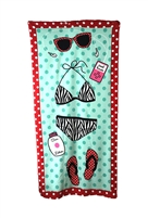 Kitschy Beach Essentials Print Beach Towel