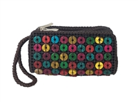Blue Island Beaded Duel Zip ID Mini Wristlet