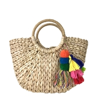 Nixie Straw Market Tote w Colorful Pom Pom Tassels, Natural