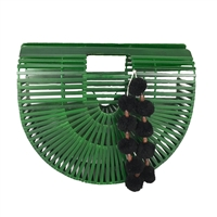 Blue Island Monstera Green Arc Bamboo Clutch