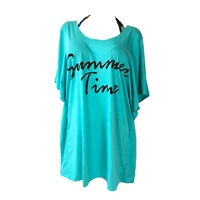 Summer Time Cold Shoulder Beach T-Shirt Dress Swim Cover Up