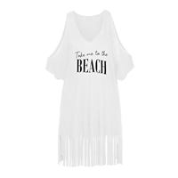 Take Me to The Beach Cold Shoulder T-Shirt Dress Swim Cover up