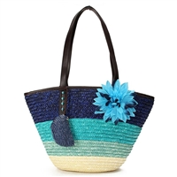 Blue Island Striped Rattan Beach Tote