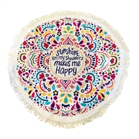 'Sunshine Makes Me Happy' Round Beach Blanket