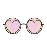 Betsey Johnson Funky Heart Lennon Round Sunglasses
