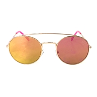 Betsey Johnson Flash Mirrored Flat Round Aviator Sunglasses