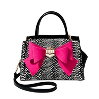 Betsey Johnson Removable Bow Polka Dot Satchel