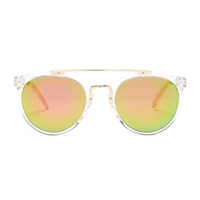 Betsey Johnson Crystal Clear Round Metal Brow Bar Sunglasses