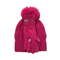 Betsey Johnson Heart Pom Pom Hat & Knit Glove Set