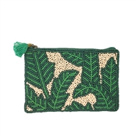 From St Xavier Nina Palm Print Beaded Zip Mini Purse Card Case