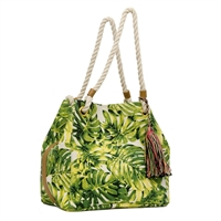 Palm Leaf Print Large Market Tote Beach Bag