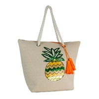 Magid Sequin Pineapple Canvas Tote Beach Bag