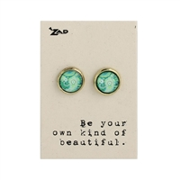 Zad Jewelry Paisley Print Round Stud Earrings
