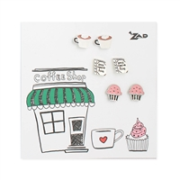 Zad Jewelry Coffee Shop Set of 3 Stud Earrings