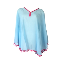 Pom Pom Poncho Tunic Swim Cover Up