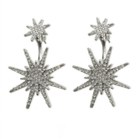 Pave Starburst Ear Jacket Drop Earrings