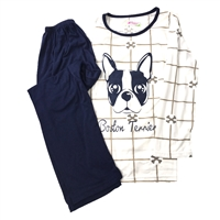 Boston Terrier Dog Pajama Lounge Pants & Top Set