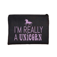 Fashion Culture I'm Really a Unicorn Zip Cosmetic Case Travel Pouch