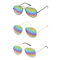 Bliss Classic Aviator Rainbow Lens Sunglasses