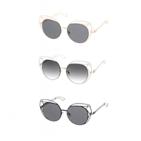 Fashion Culture Oversized Laser Cut Cat Eye Sunglasses