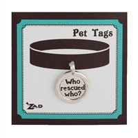 Zad Jewelry Who Rescued Who? Charm Dog Tag